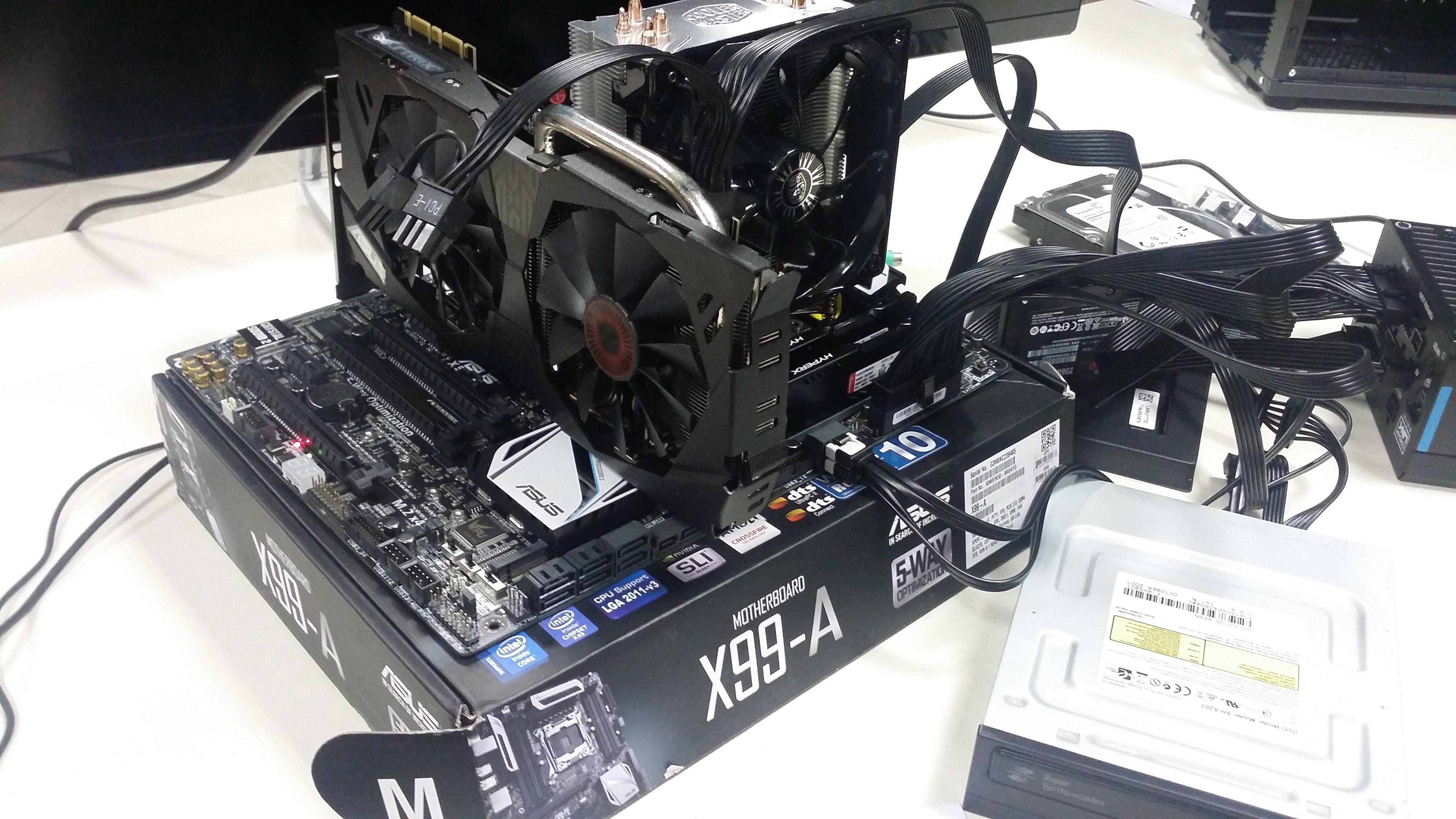 Work station CPU: i7 5820K (6core / 12 thread) Asus x99 - A, Nvidia Strix 970, Smsung 850 PRO SSD, Corsar HX750W PSU